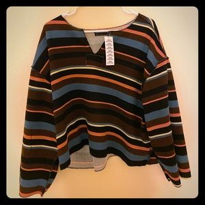Urban outfitter long sleeve striped v- neck shirt